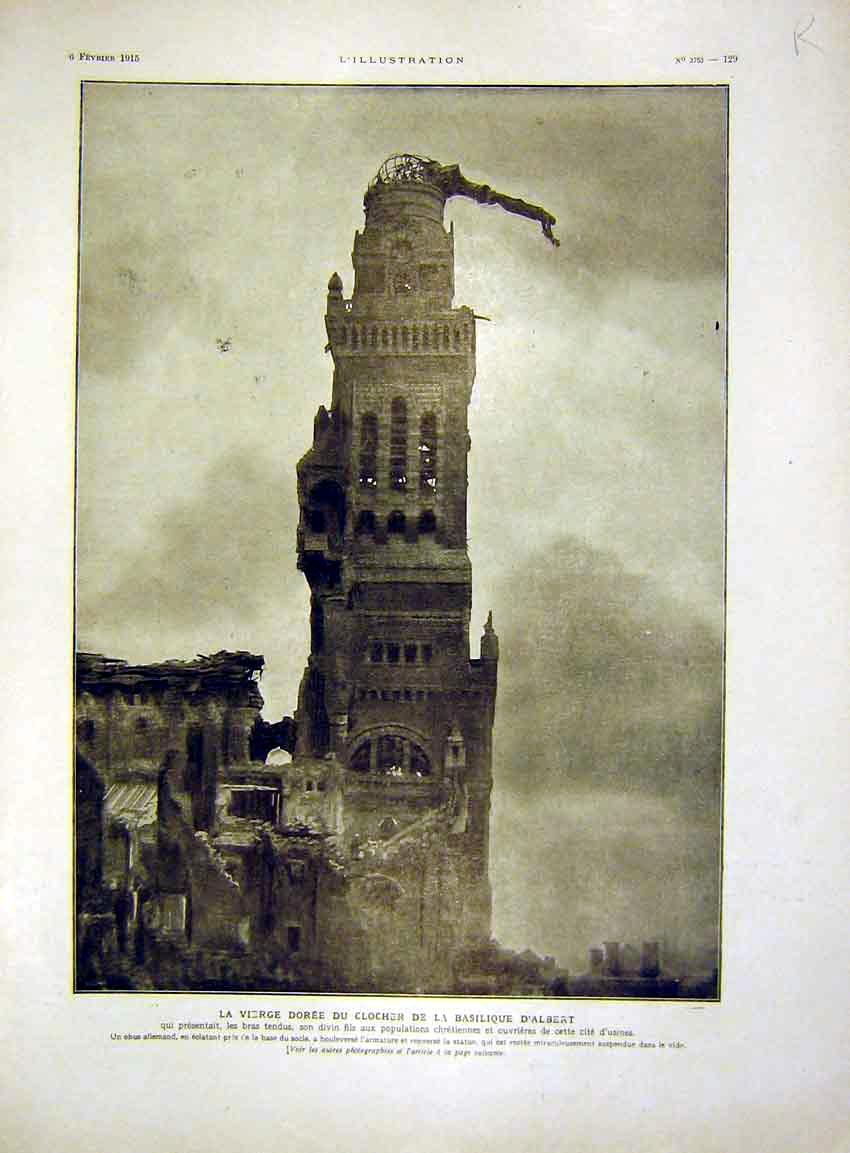 Print Albert Statue Tower Notre-Dame Brebieres French 1915 29Rlil0 Old Original