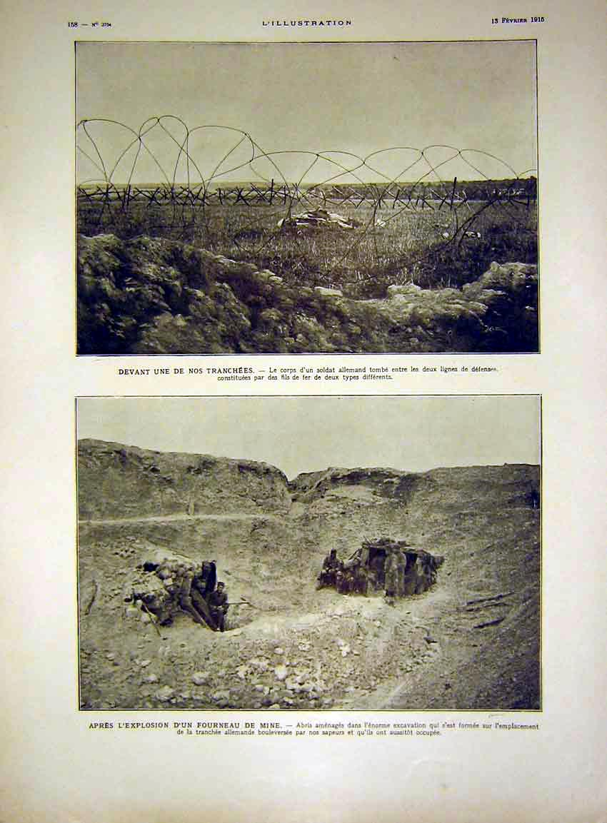 Print Trench War German Explosion Crator French 1915 58Lil0 Old Original