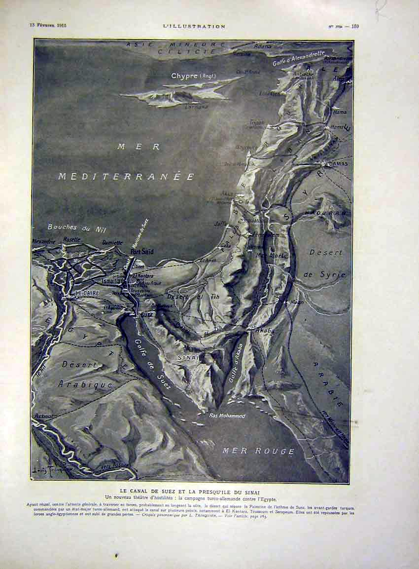 Print Map Suez Canal Egypt Soldier Troops French 1915 59Rlil0 Old Original