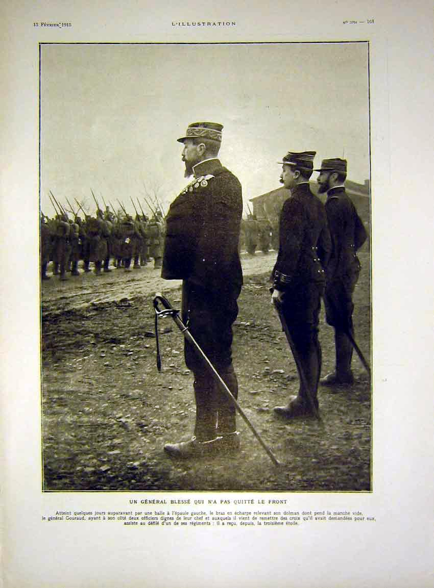 Print General Blesse Review Troops French 1915 61Lil0 Old Original