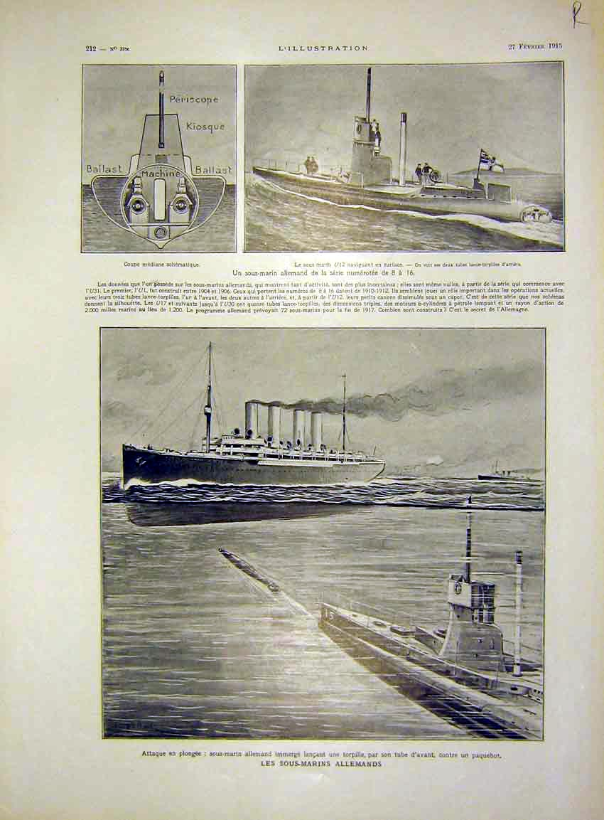 Print Submarine German Boat Alsace Millerand French 1915 12Rlil0 Old Original