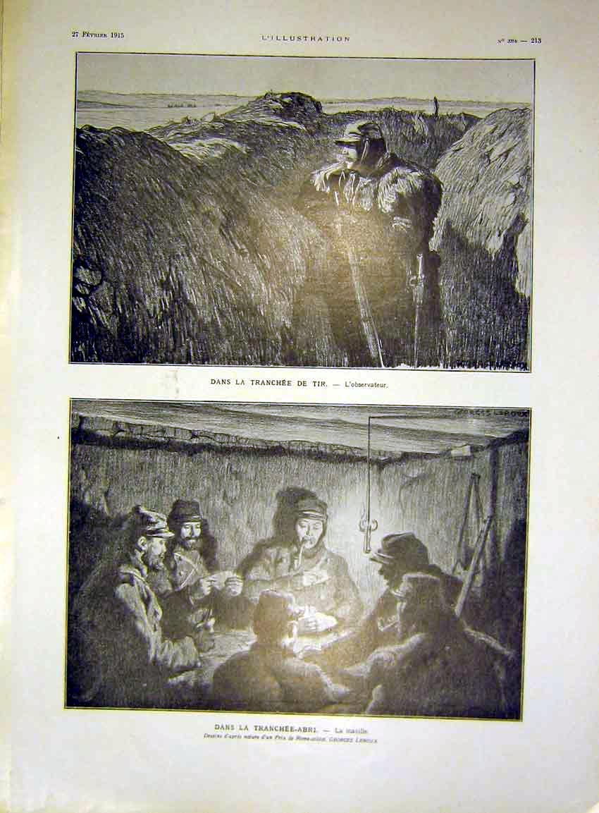 Print Trench Troops Observer War Abri Games French 1915 13Lil0 Old Original