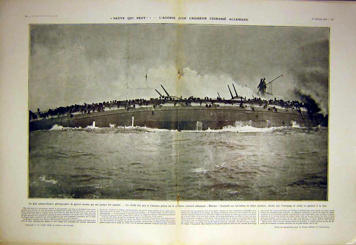 Print Germany Blucher Ship Sea War Military Navy French 1915 15Tlil0 Old Original