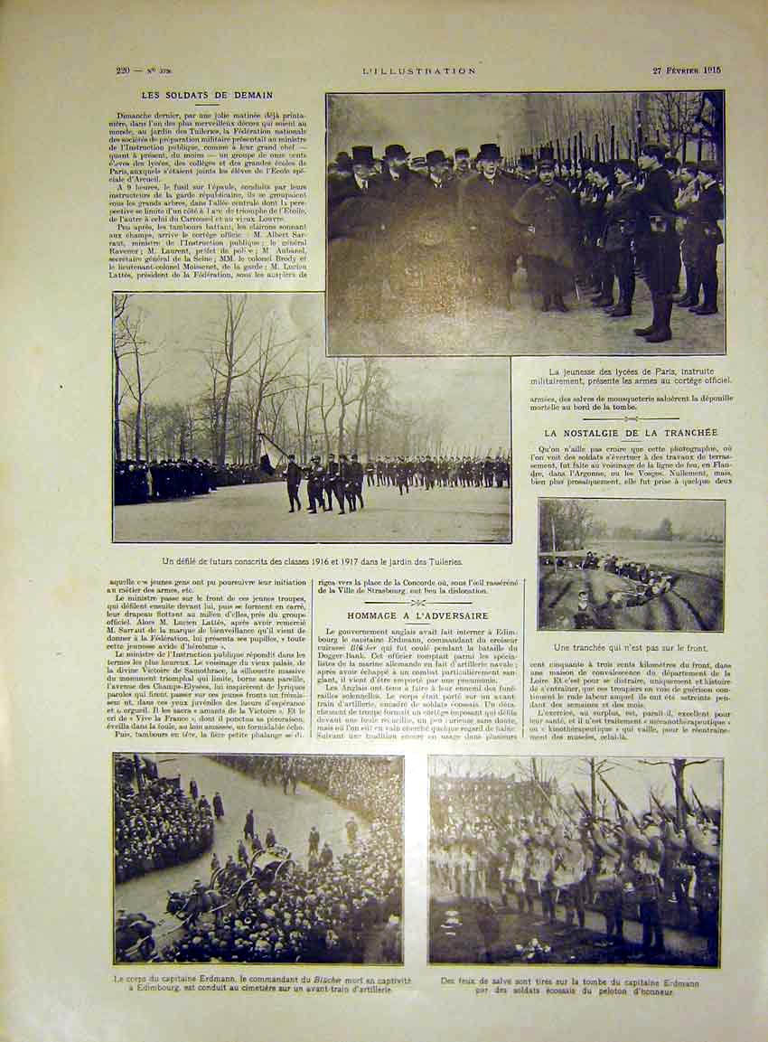 Print Trench Troops War Military Parade French 1915 20Lil0 Old Original