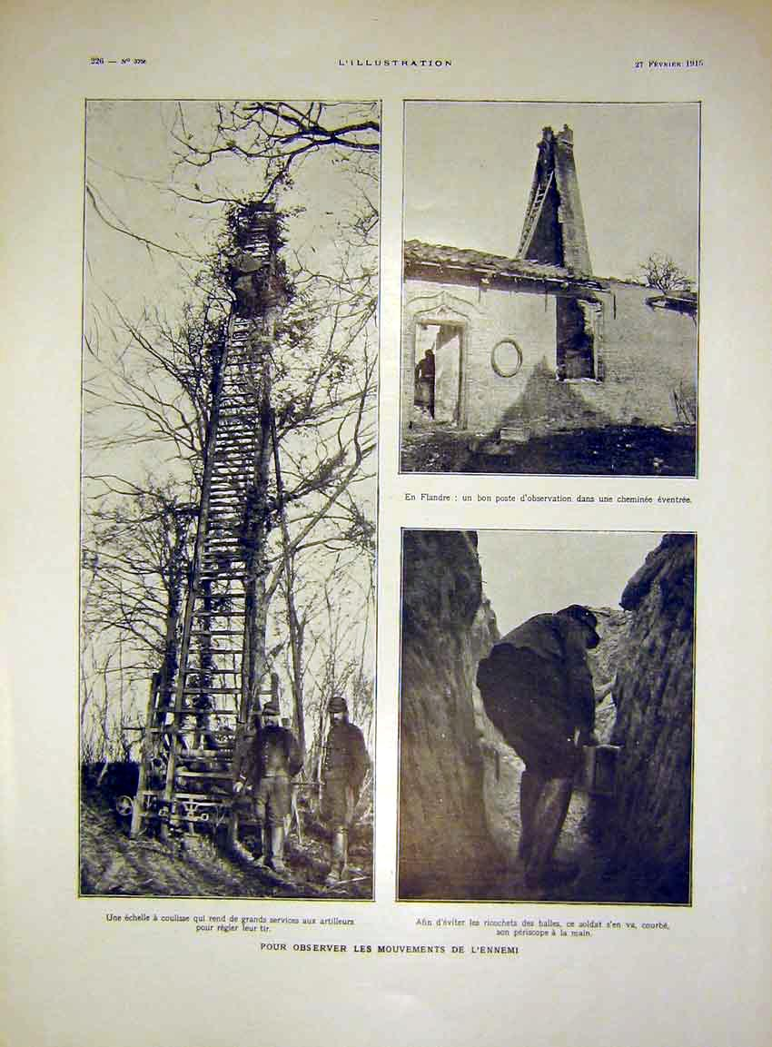 Print Artillery War Mast Enemy Trench French 1915 26Lil0 Old Original