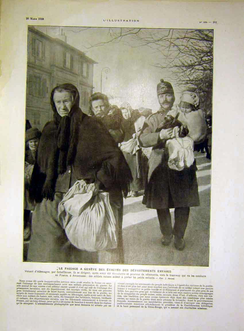 Print Geneva German Evacuees War Swiss French 1915 91Lil0 Old Original