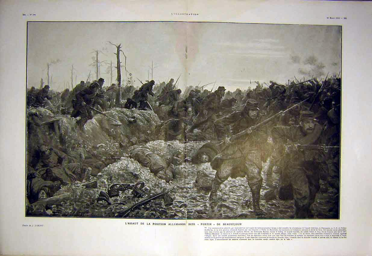 Print German Fortin Battle War Troops Soldiers French 1915 93Tlil0 Old Original
