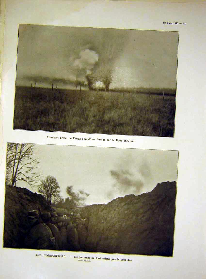 Print Explosion Marmites Trench Troops Bomb French 1915 97Lil0 Old Original
