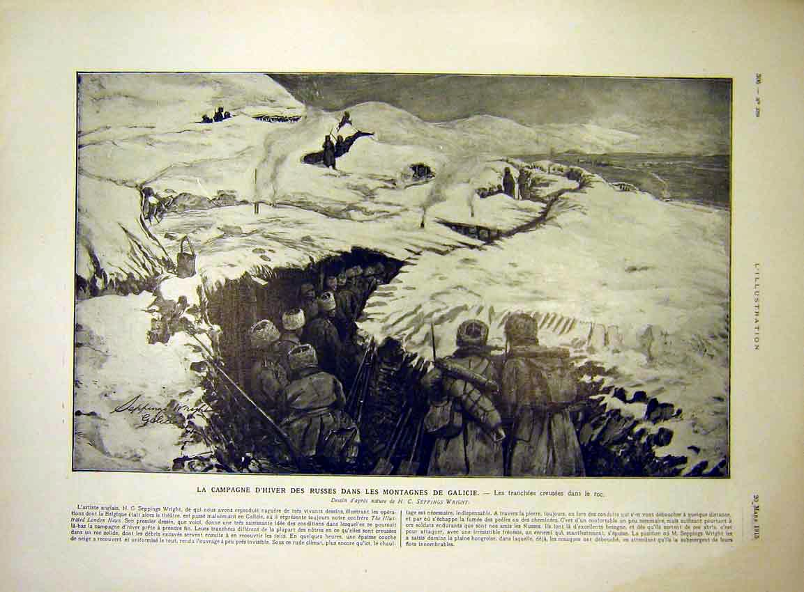 Print Trench Troops Mountain Winter Galicie French 1915 06Lil0 Old Original