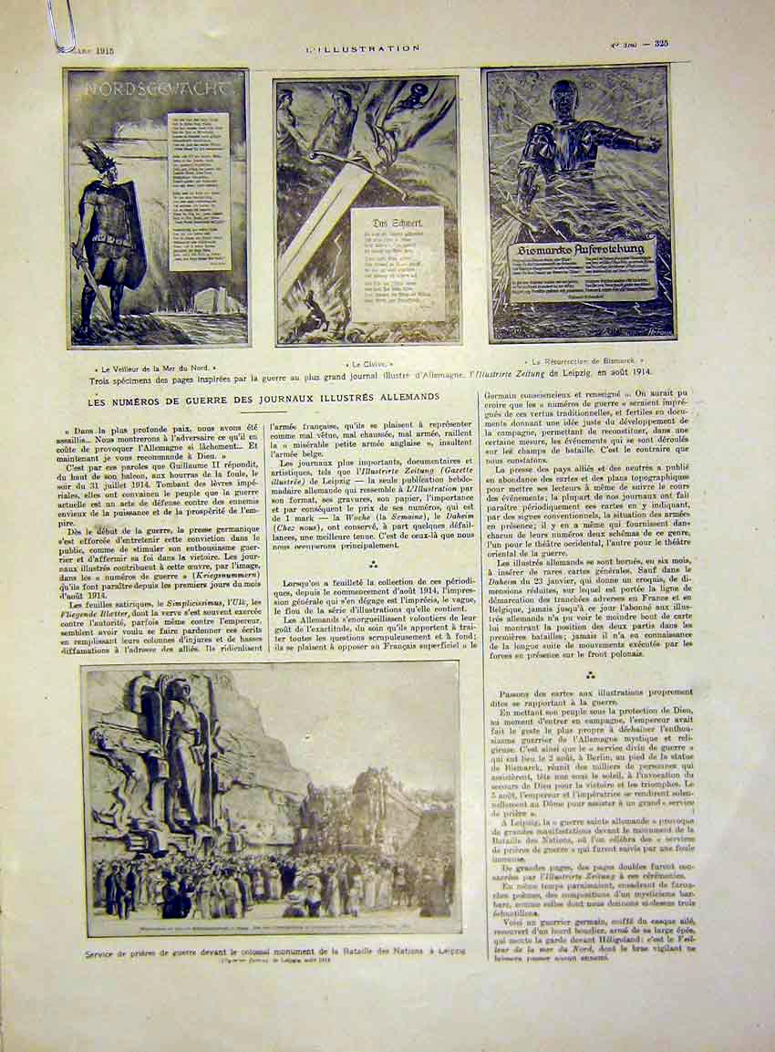 Print German News Service Leipzig French 1915 25Alil0 Old Original