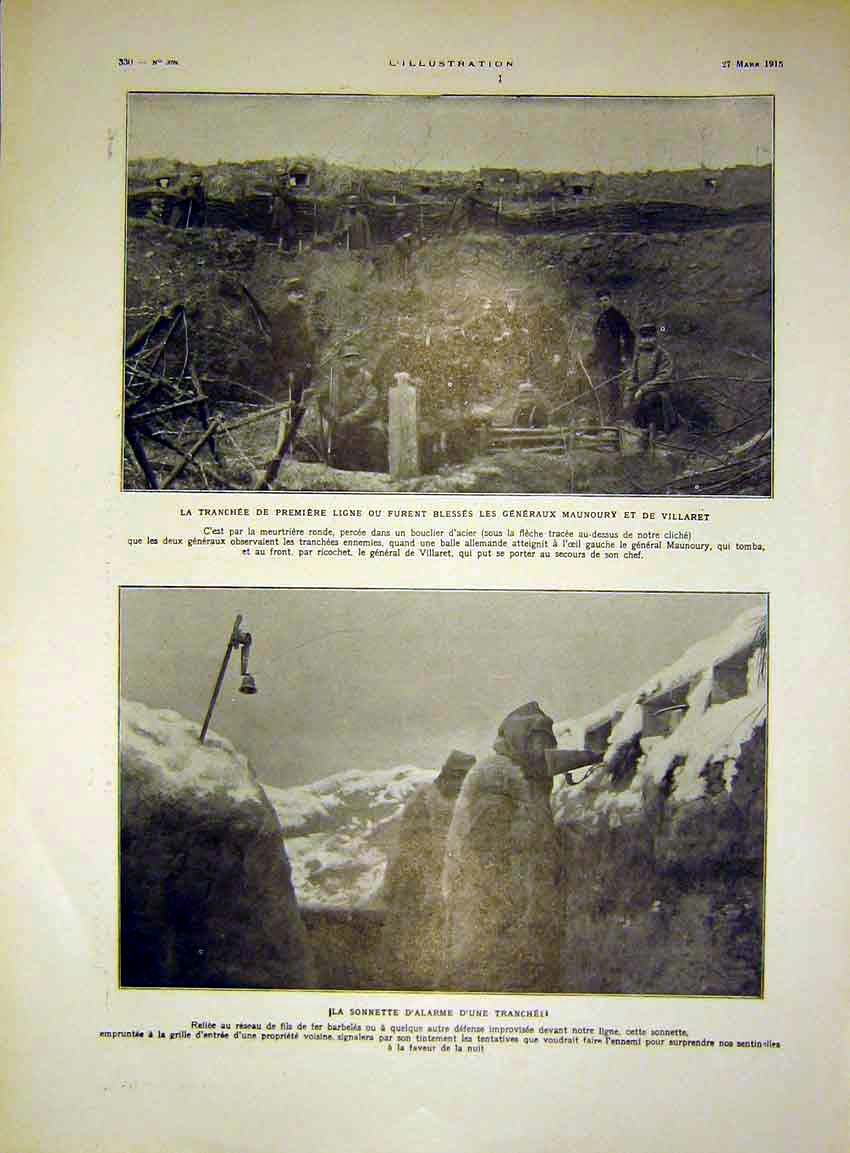 [Print Trench Troops War Maumoury Villaret French 1915 30Lil0 Old Original]