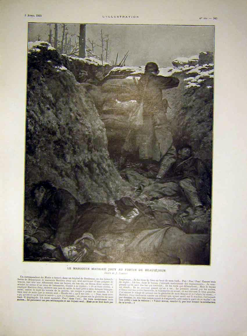 Print Trench War Simont Soldier Troops French 1915 45Lil0 Old Original