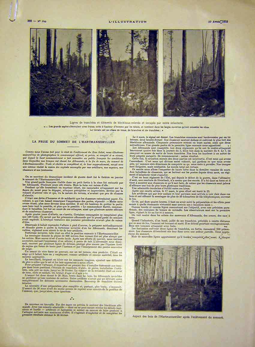 Print Hartmannswiller Forest Troops Chapel Trench French 1915 66Alil0 Old Original