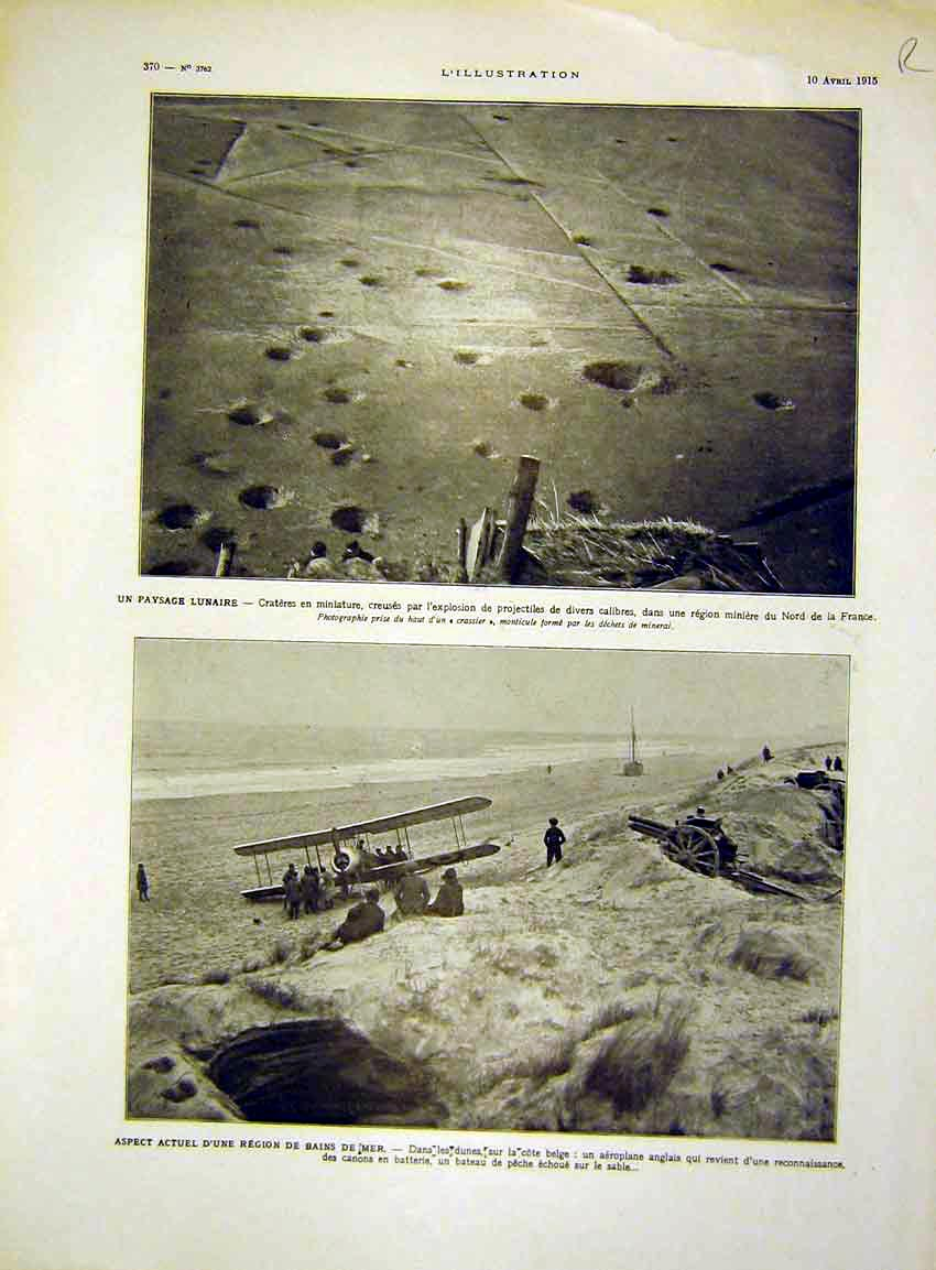 Print France Bomb Craters Aeroplane Trench French 1915 70Rlil0 Old Original
