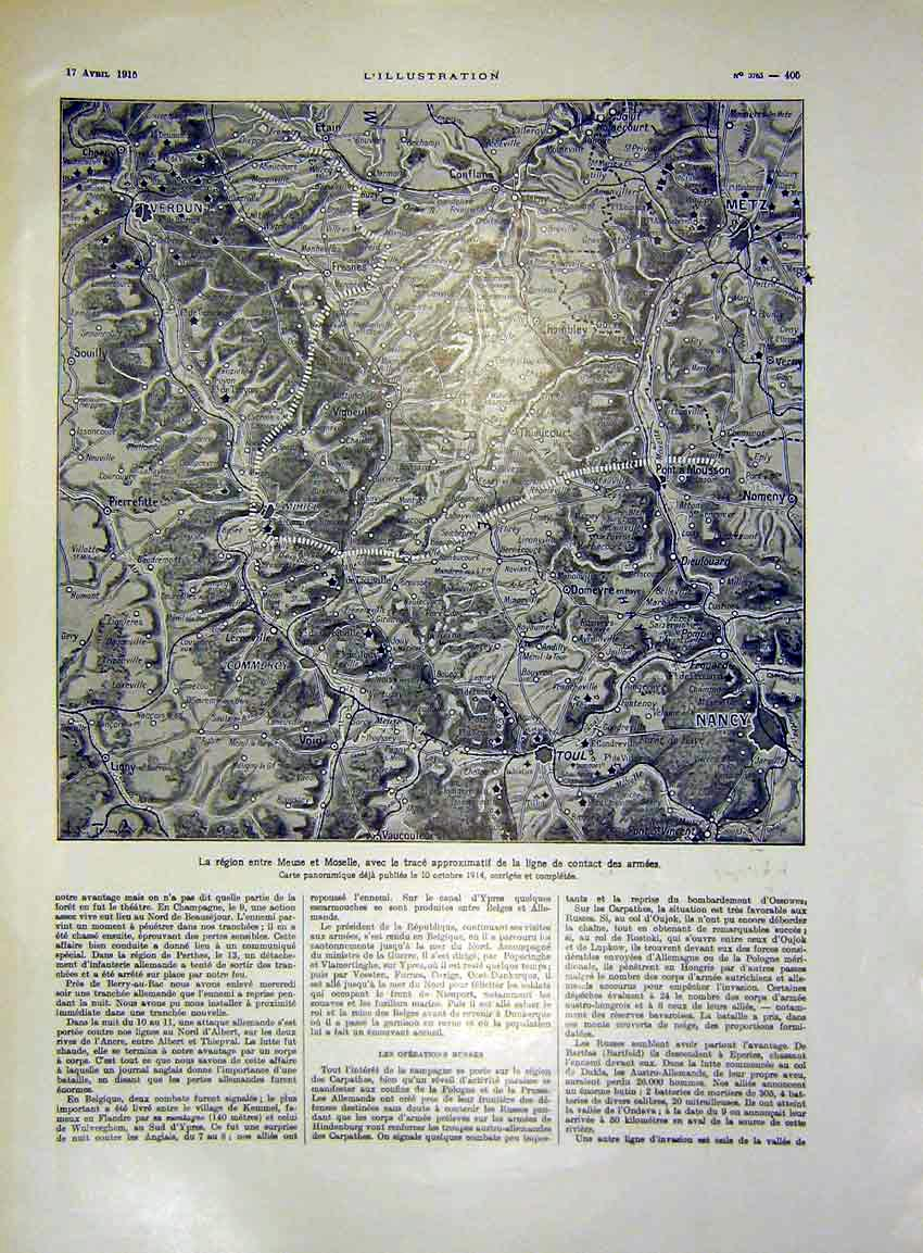 Print Map Meuse Et Moselle Army Military French 1915 05Lil0 Old Original