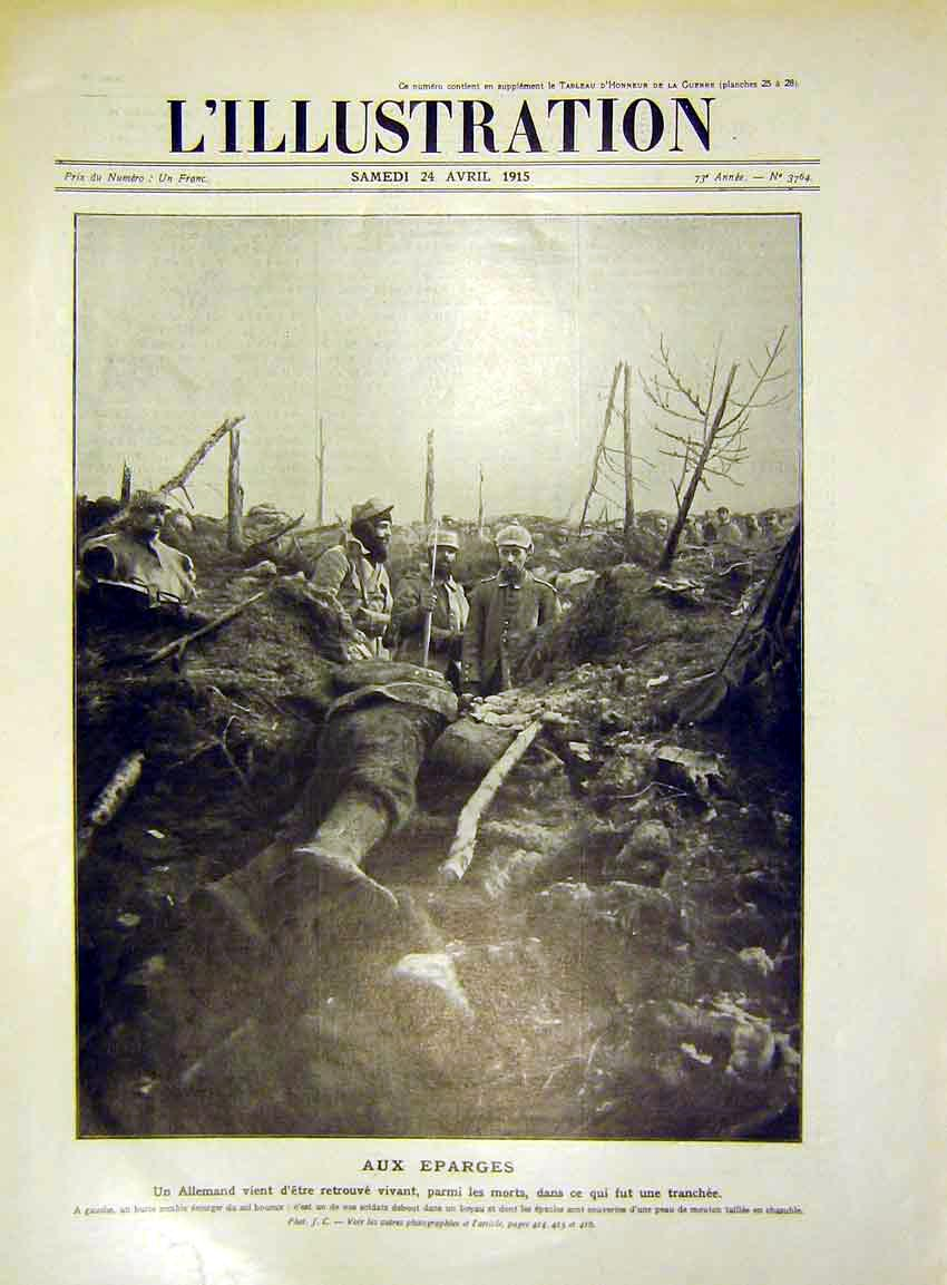 Print Troops Trench Soldier War Allemand French 1915 12Lil0 Old Original