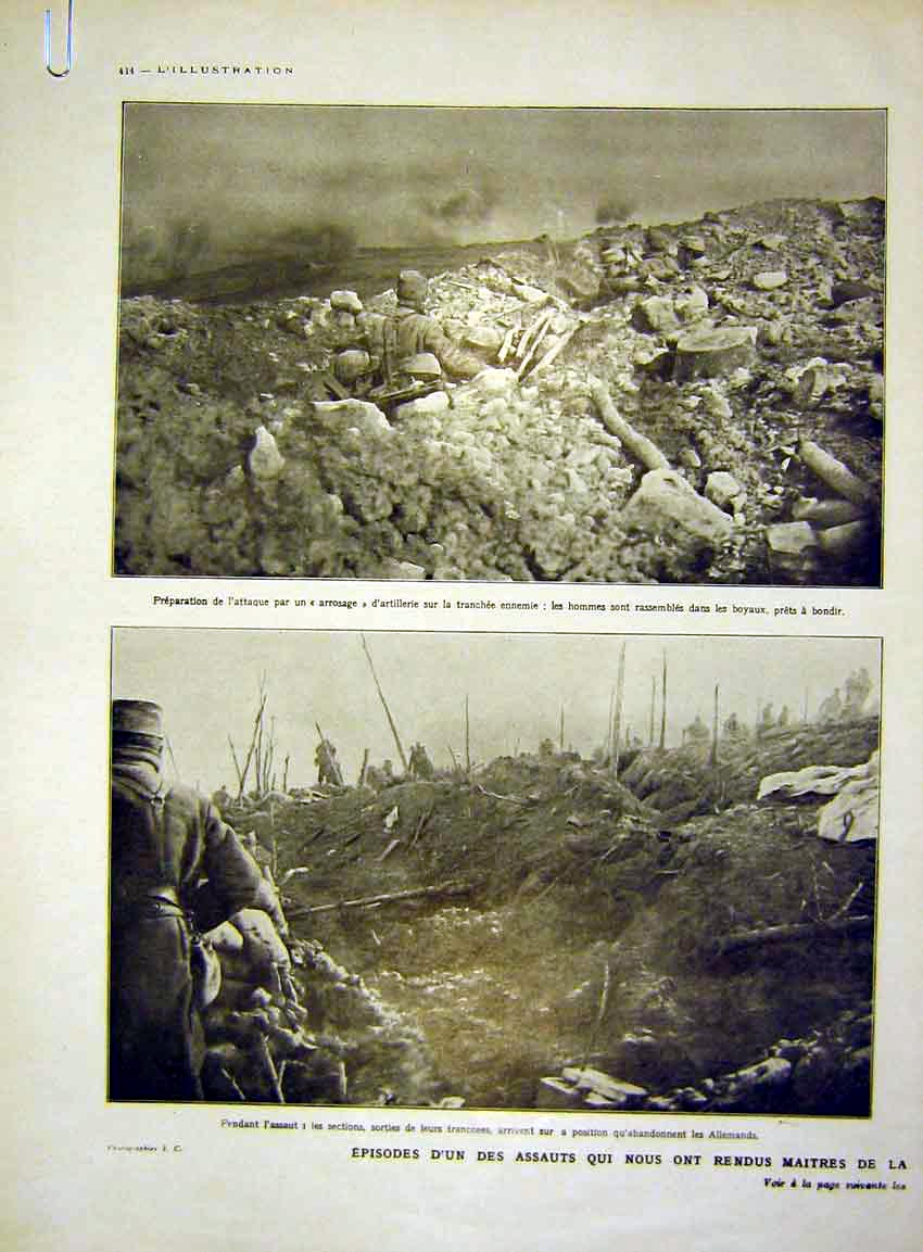 Print Battle Attack War Troops German French 1915 14Alil0 Old Original