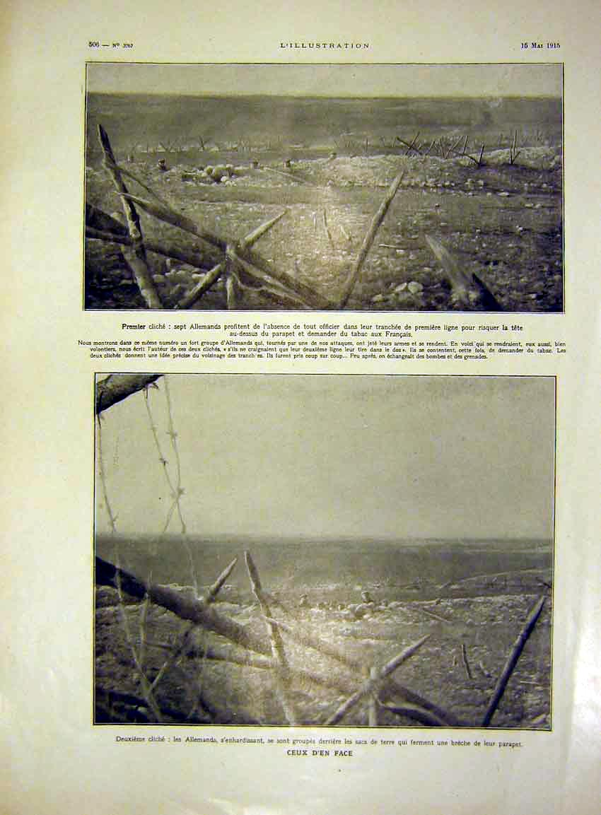 Print German Trenches War Battlefield French 1915 06Lil0 Old Original