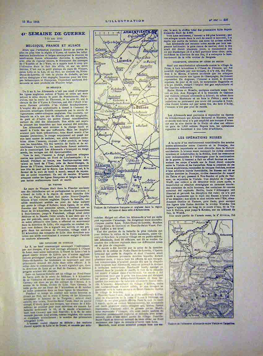 Print Map War Lens Armentieres Carpathes French 1915 07Lil0 Old Original