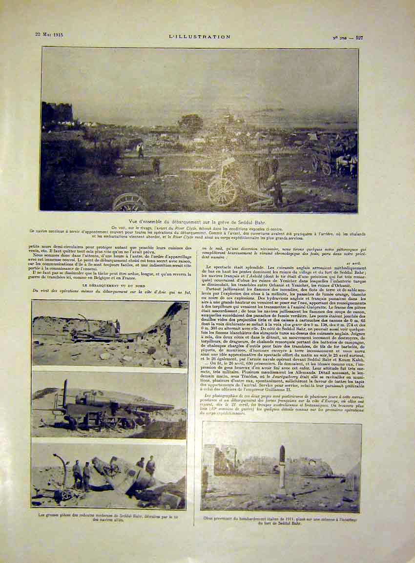 Print Seddul Bahr Battle Canon Ruins War French 1915 27Lil0 Old Original