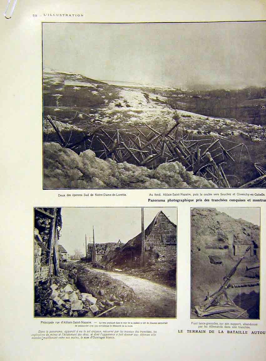 Print Battlefield War Trench Nazaire Lorette French 1915 34Alil0 Old Original