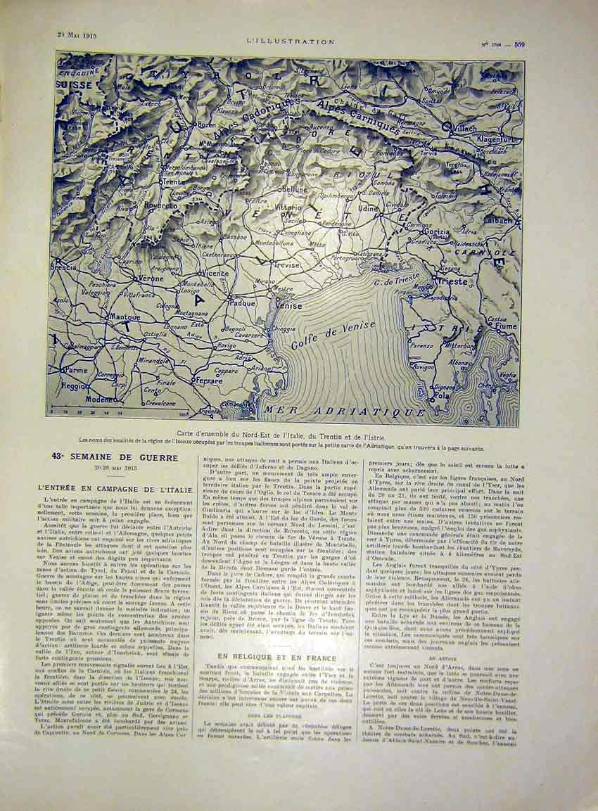 Print Italy Austria French 1915 Map 59Lil0 Old Original