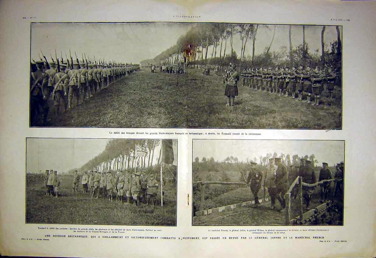 Print Joffre French General Troops Review British 1915 73Tlil0 Old Original