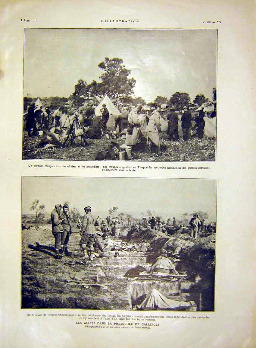Print Troops Tent Camp War Soldier French 1915 77Lil0 Old Original