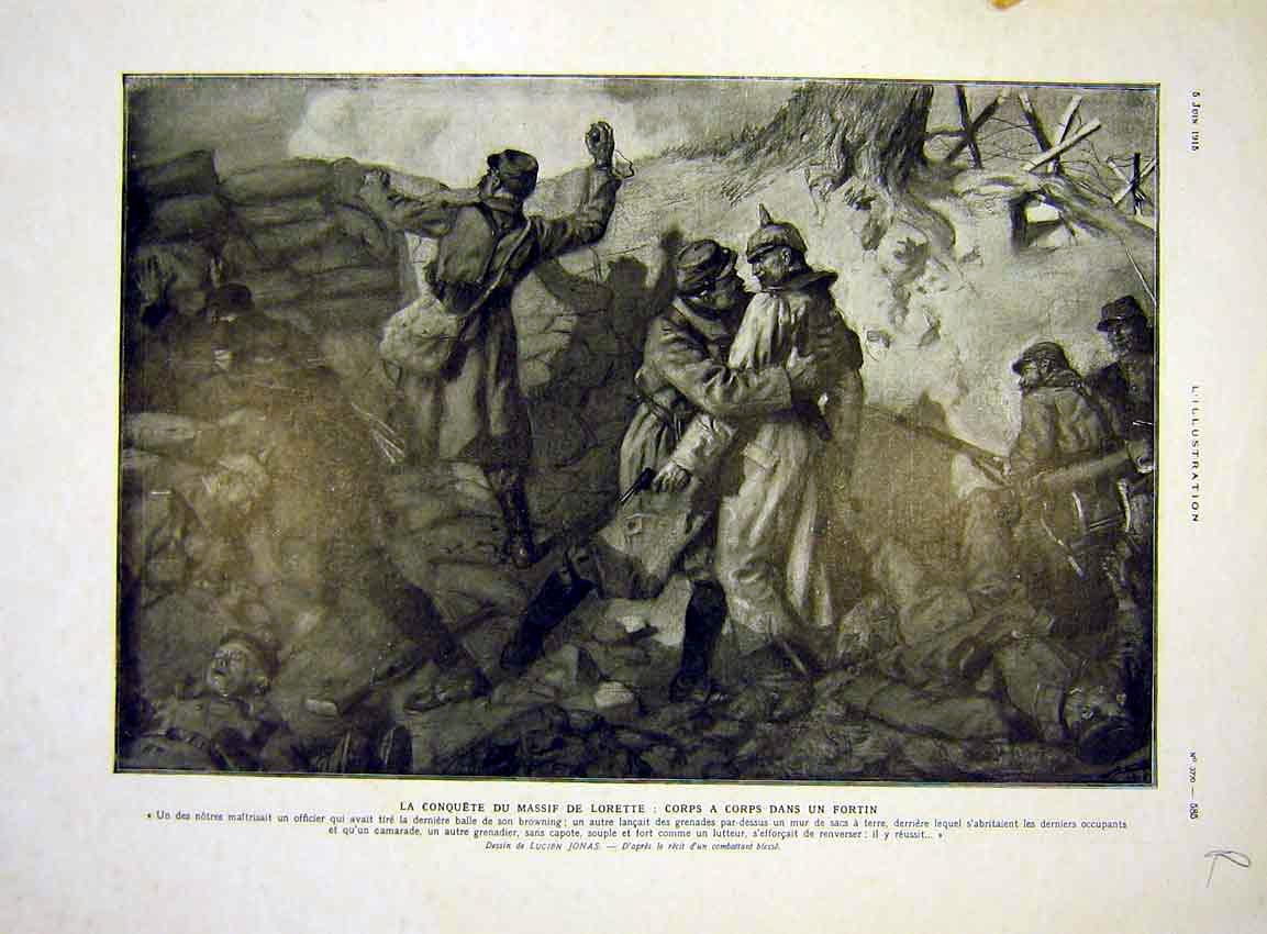 Print Lorette Battle Troops Trench Millerand Kremlin 1915 85Rlil0 Old Original