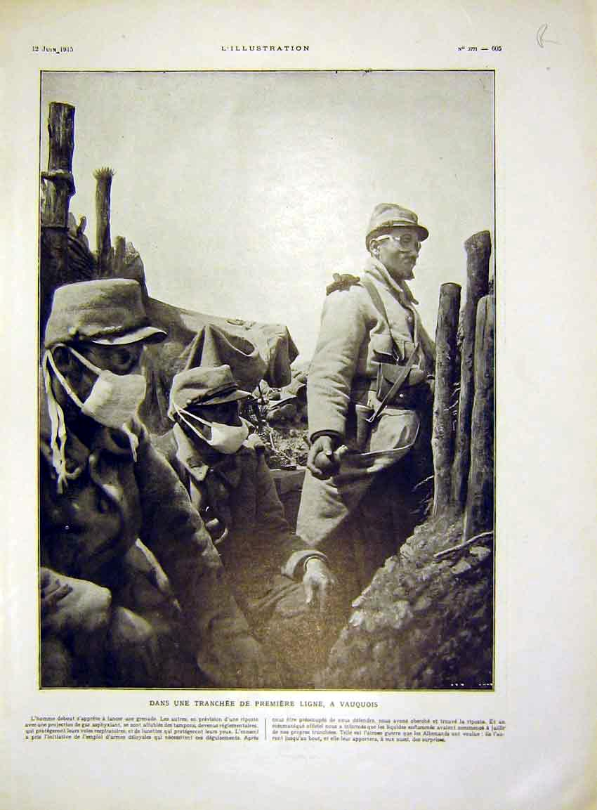Print Trench Grenade Troops Soldier General Maud'Huy 1915 05Rlil0 Old Original