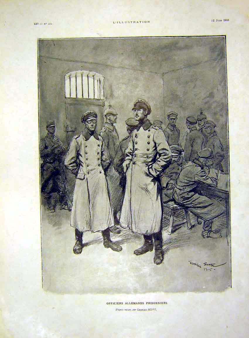 Print Officers Allemands Prisoner Scott French 1915 10Lil0 Old Original