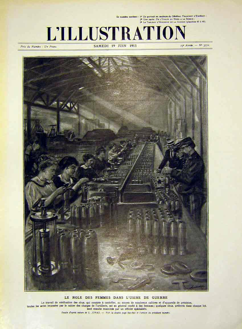 Print Female Workers Amunition Factory Shells French 1915 16Lil0 Old Original