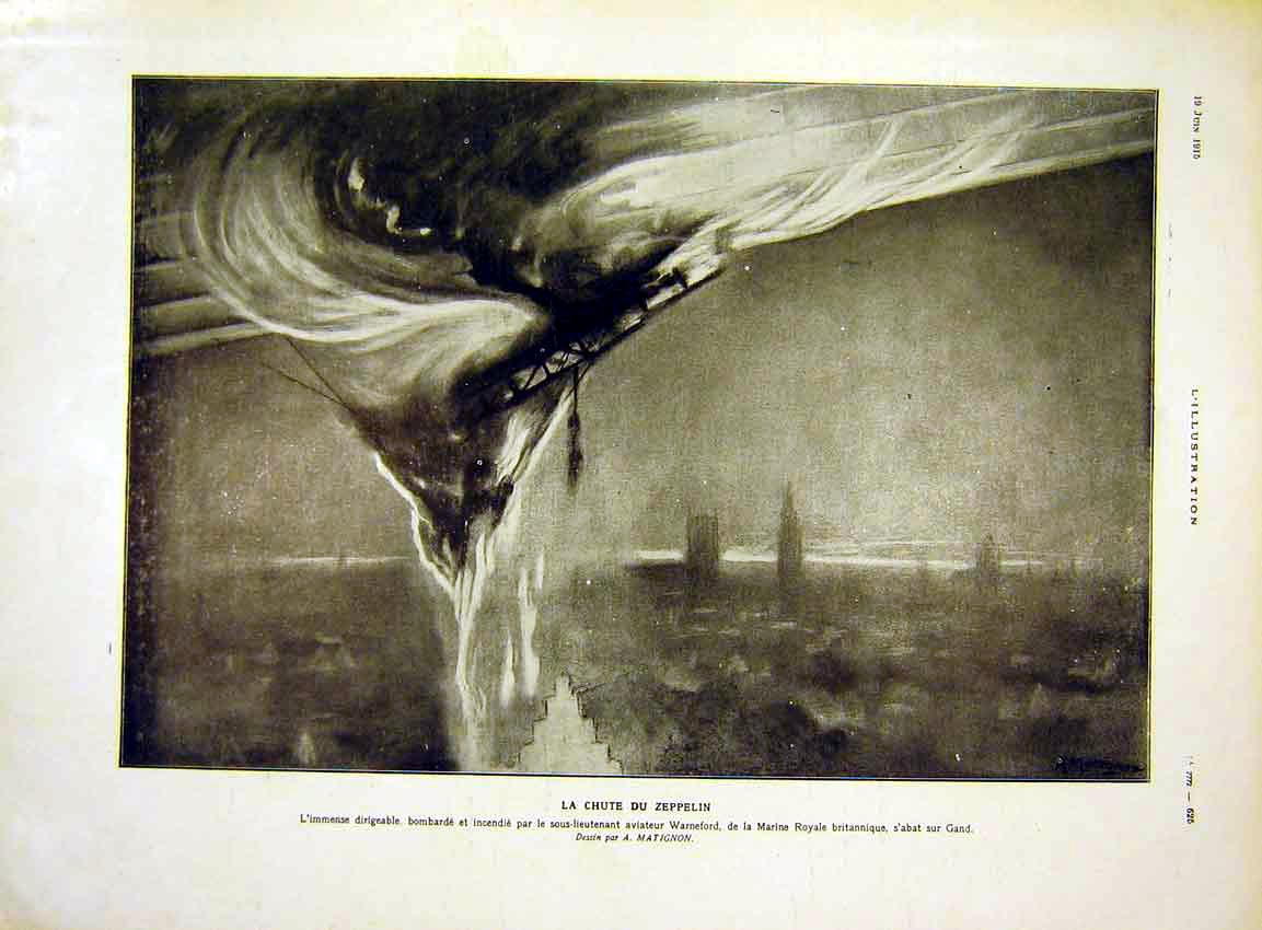 Print Zeppelin Balloon Explosion London Fire French 1915 25Lil0 Old Original