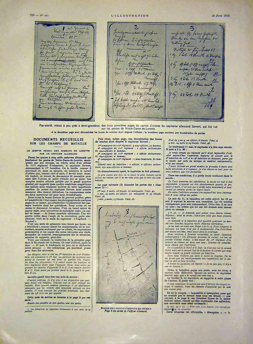 Print Documents Battle Plans Sketches Ablain French 1915 38Lil0 Old Original