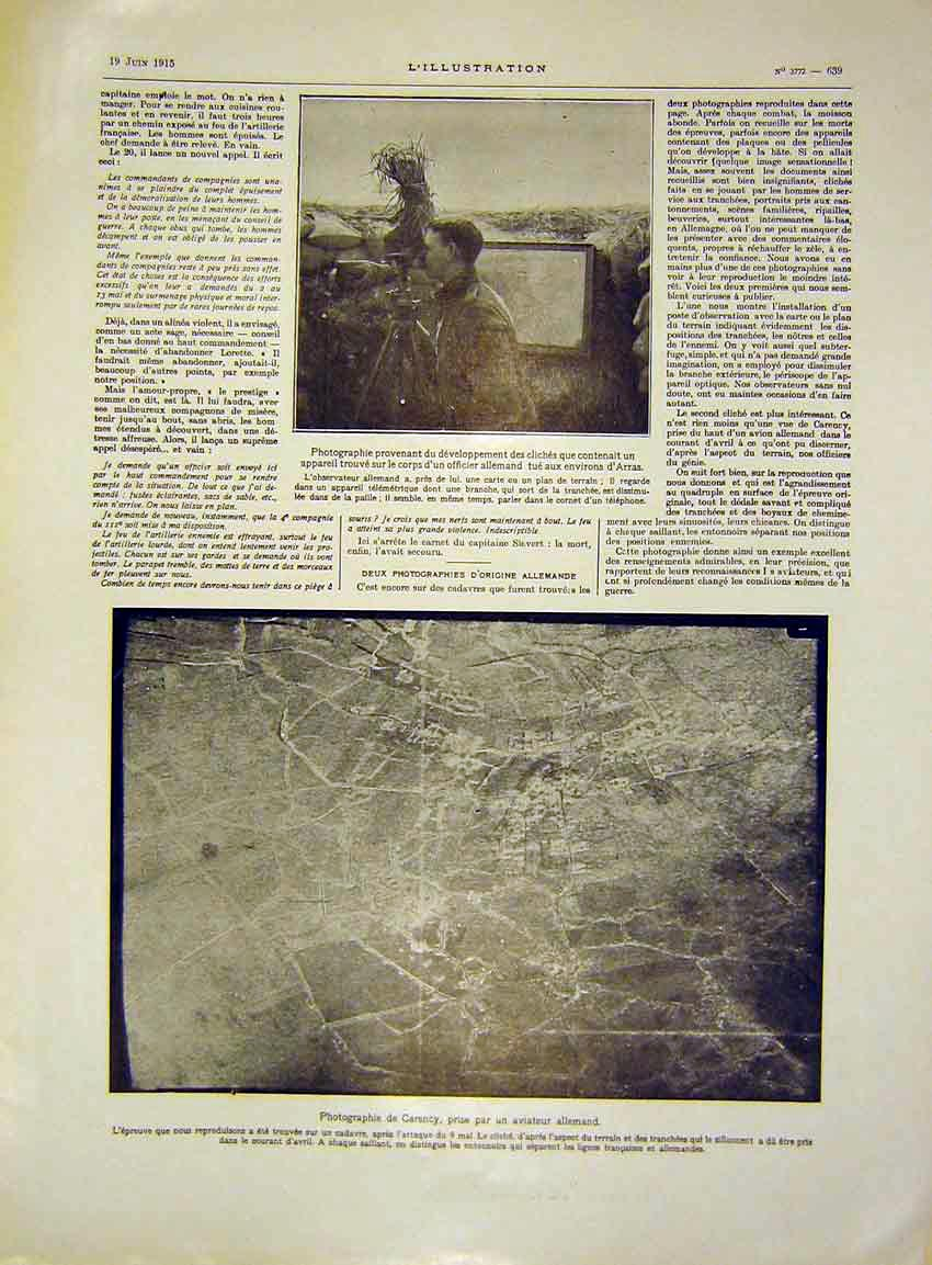 Print Photography Arras Carency Aviation Germany French 1915 39Lil0 Old Original