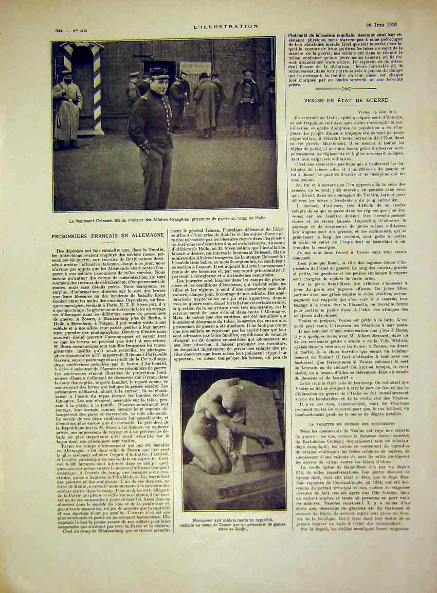 Print Delcasse War French Prisoners Monument Soldiers 1915 44Lil0 Old Original