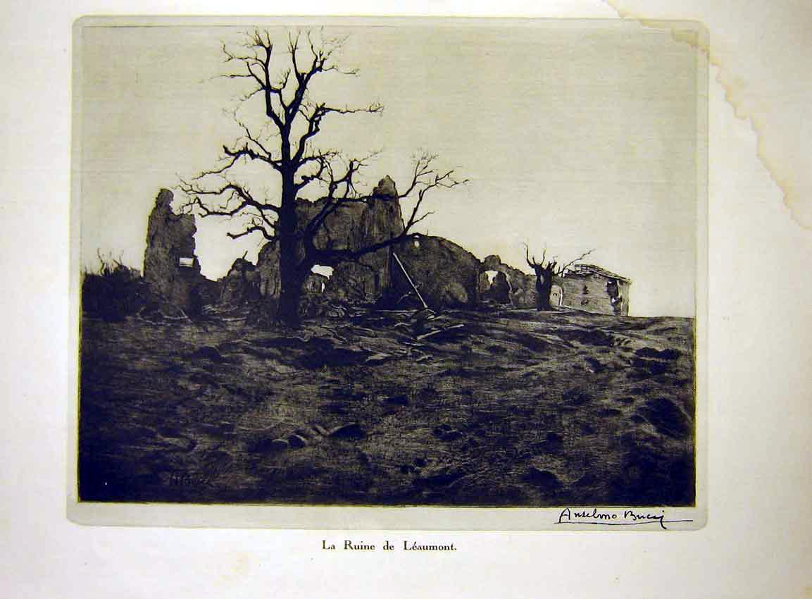 Print Ruin Leaumont Ruine Tree War French 1915 04Lil0 Old Original