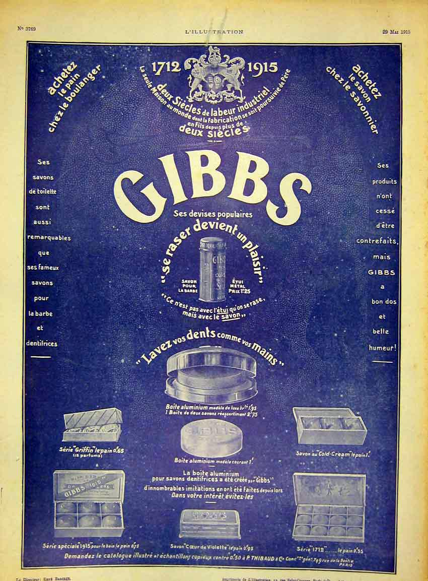 Print Advert Gibbs Toothpaste Soap Medicines French 1915 08Lil0 Old Original