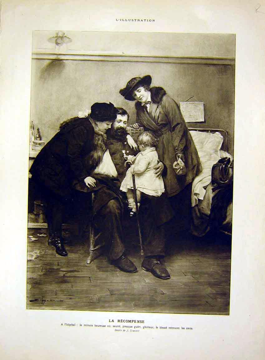 Print Hospital Wounded Soldier Guard Artillery French 1915 15Rlil0 Old Original