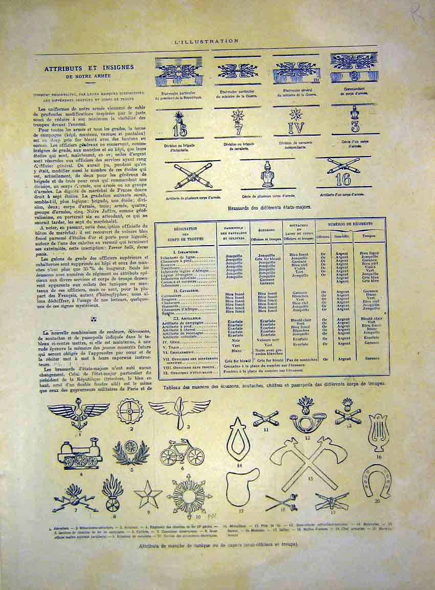 Print Insignia Army Military Medals Officer French 1915 16Rlil0 Old Original