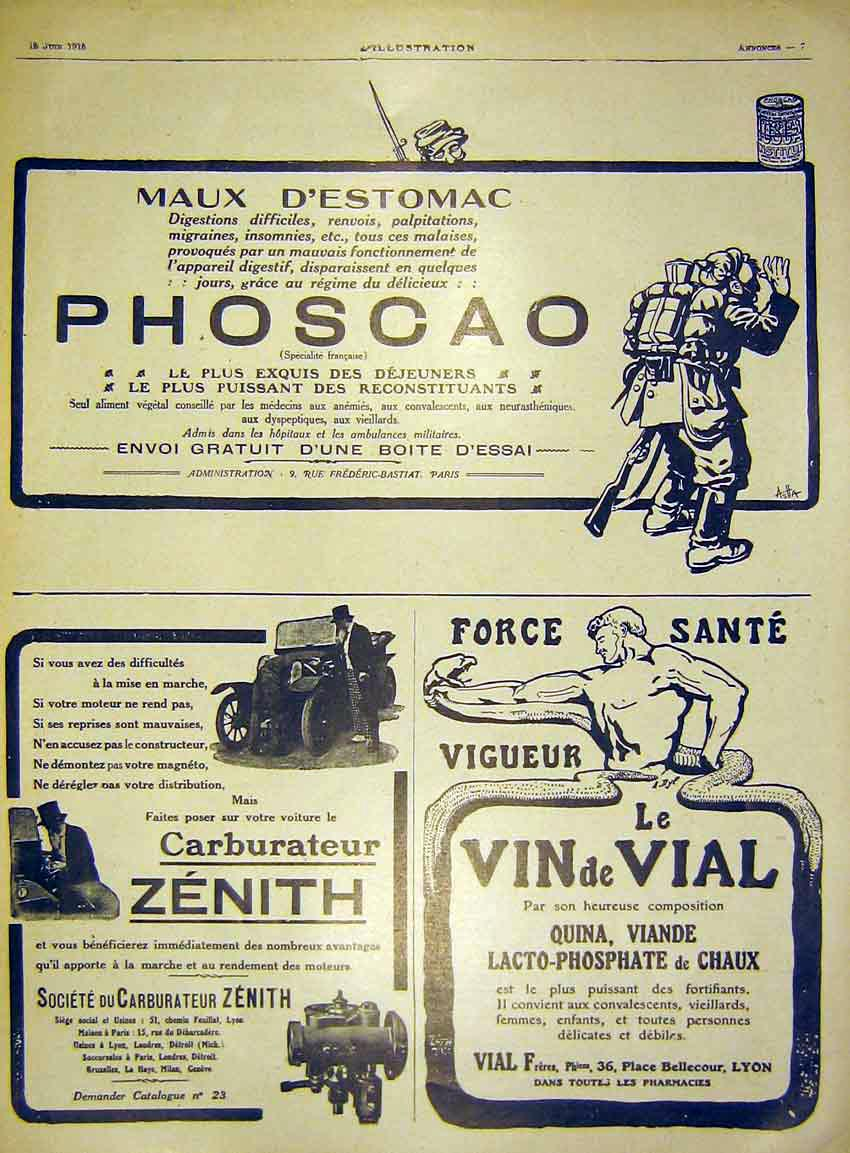 Print Advert Phoscao Zenith Carburator Vial French 1915 33Lil0 Old Original