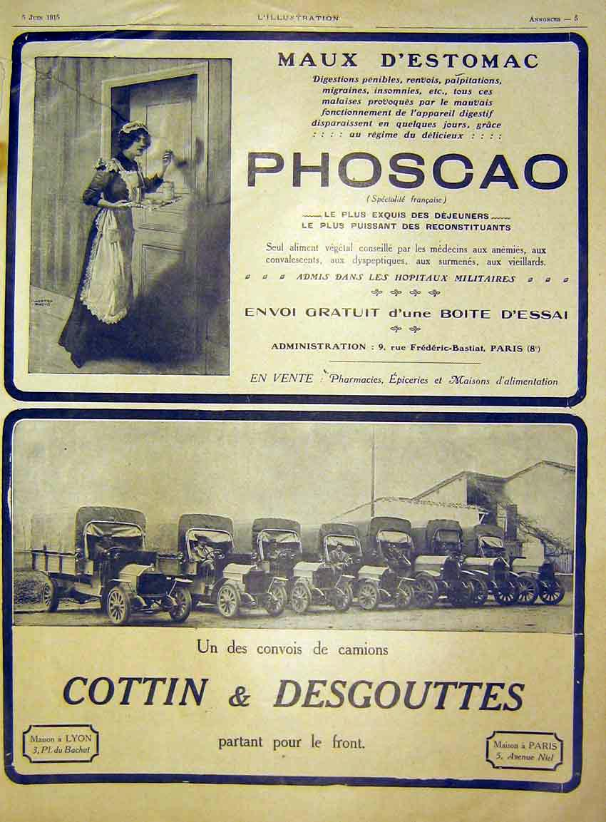 Print Advert Phoscao Cottin Desgouttes Automobile French 1915 40Lil0 Old Original