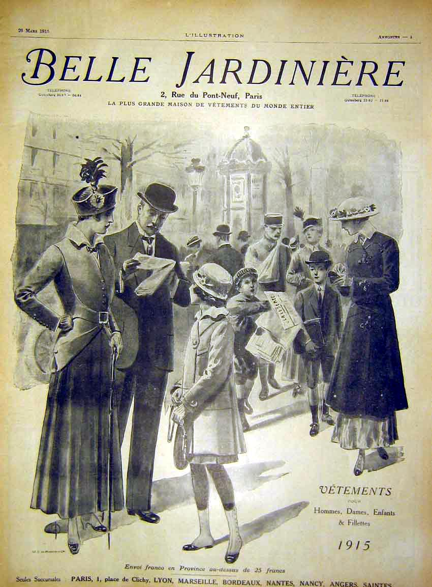 Print Advert Fashion Paris France French 1915 51Lil0 Old Original