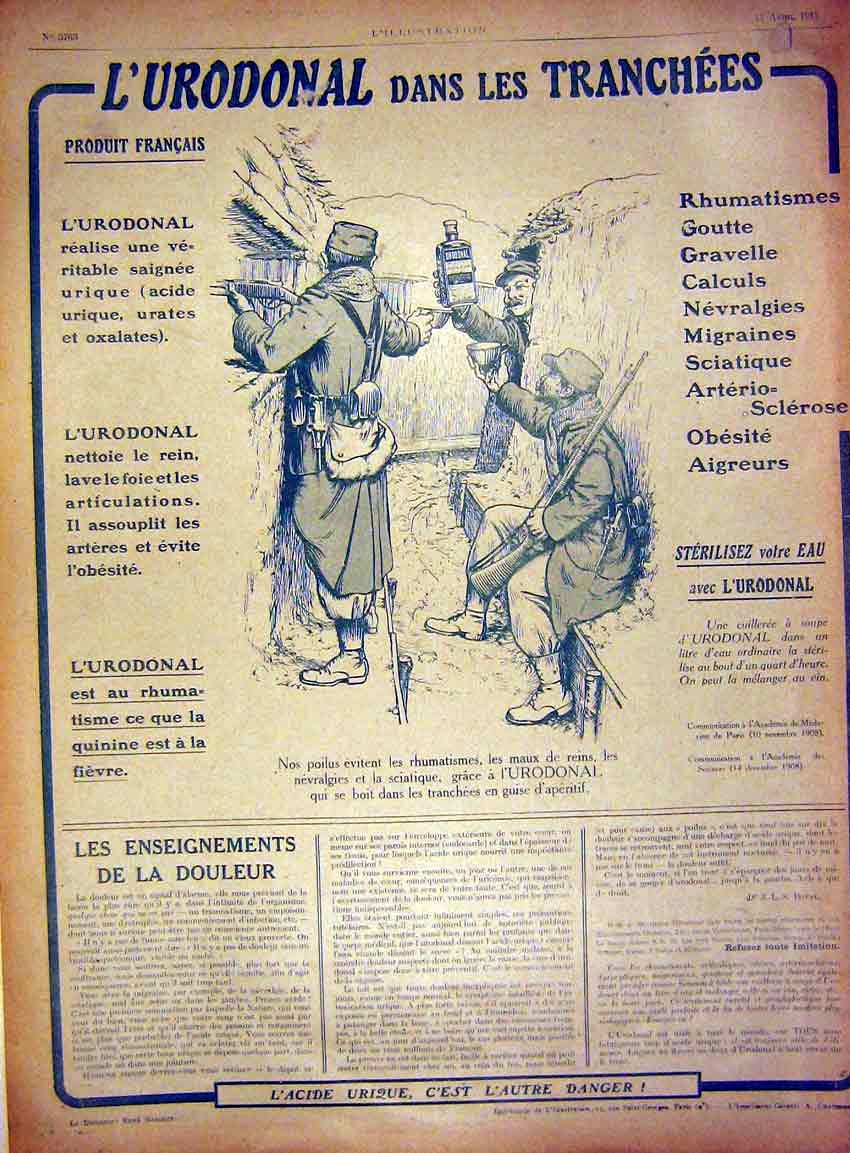 Print Advert L'Urodonal Trenches Medicine French 1915 57Lil0 Old Original