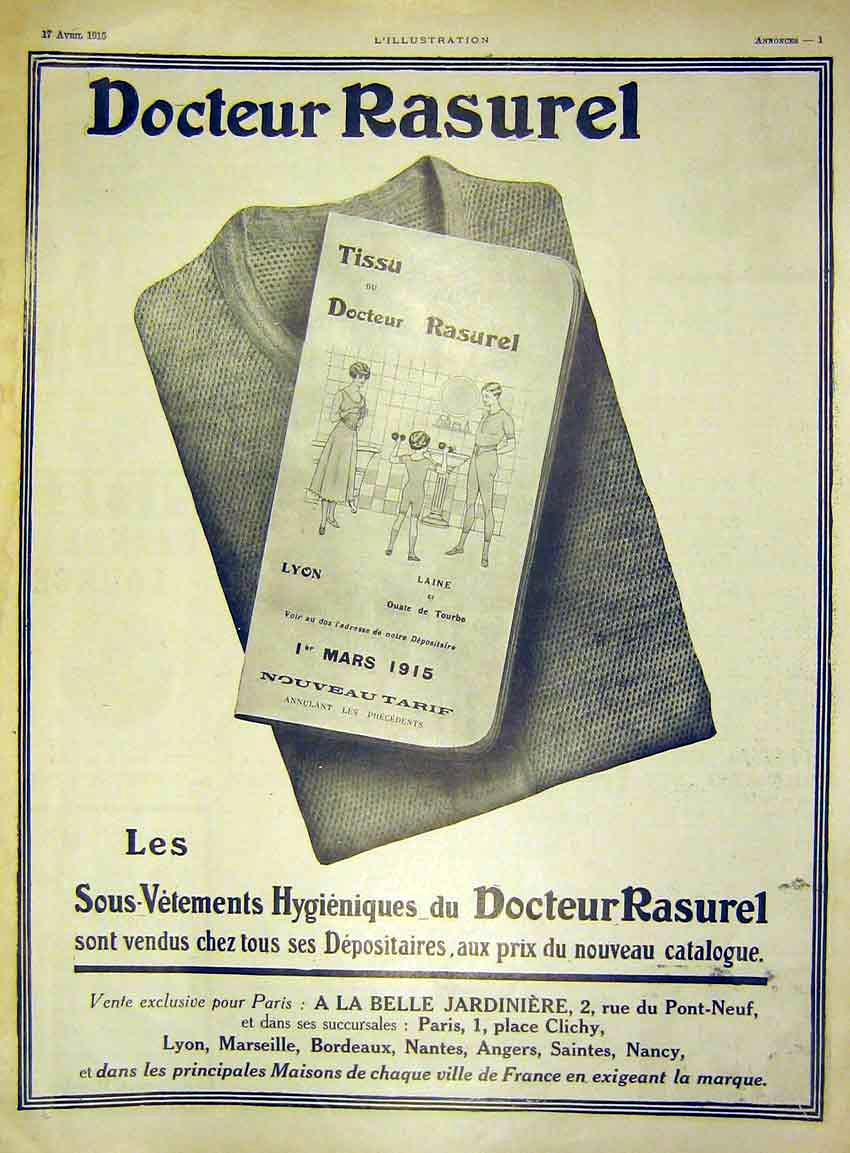 Print Advert Doctor Rasurel Tissue French 1915 58Lil0 Old Original