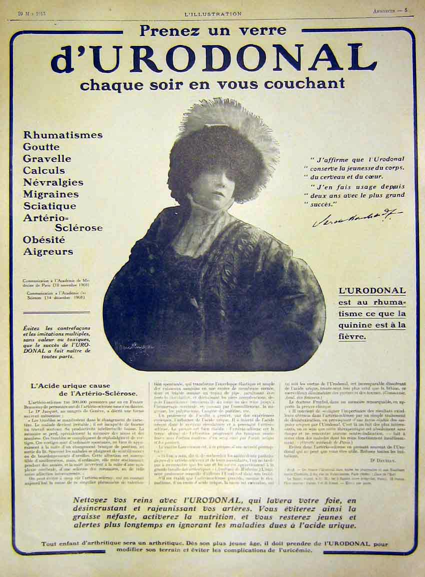 Print Advert D'Urondonal Rhumatism Medicine French 1915 59Lil0 Old Original