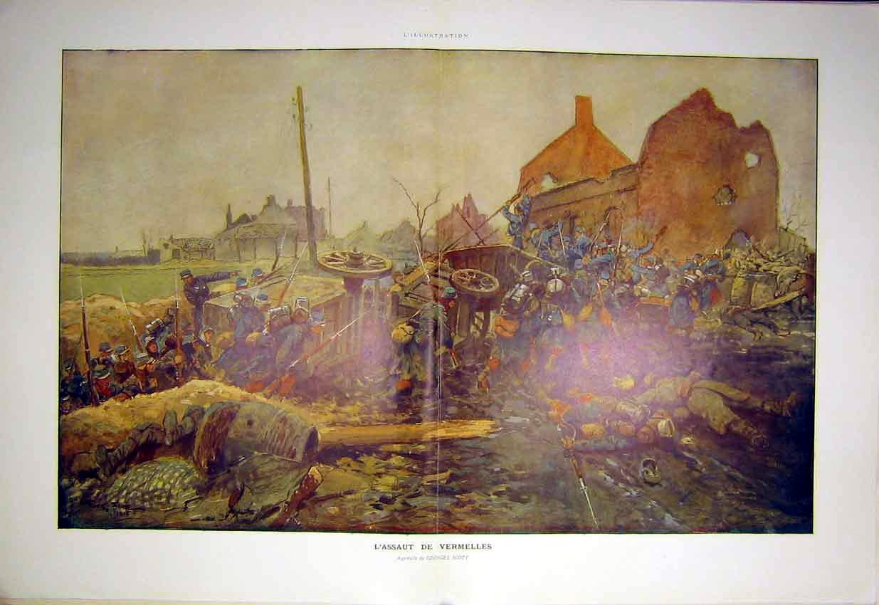 Print Battle Vermelles Scott French 1915 War 70Tlil0 Old Original