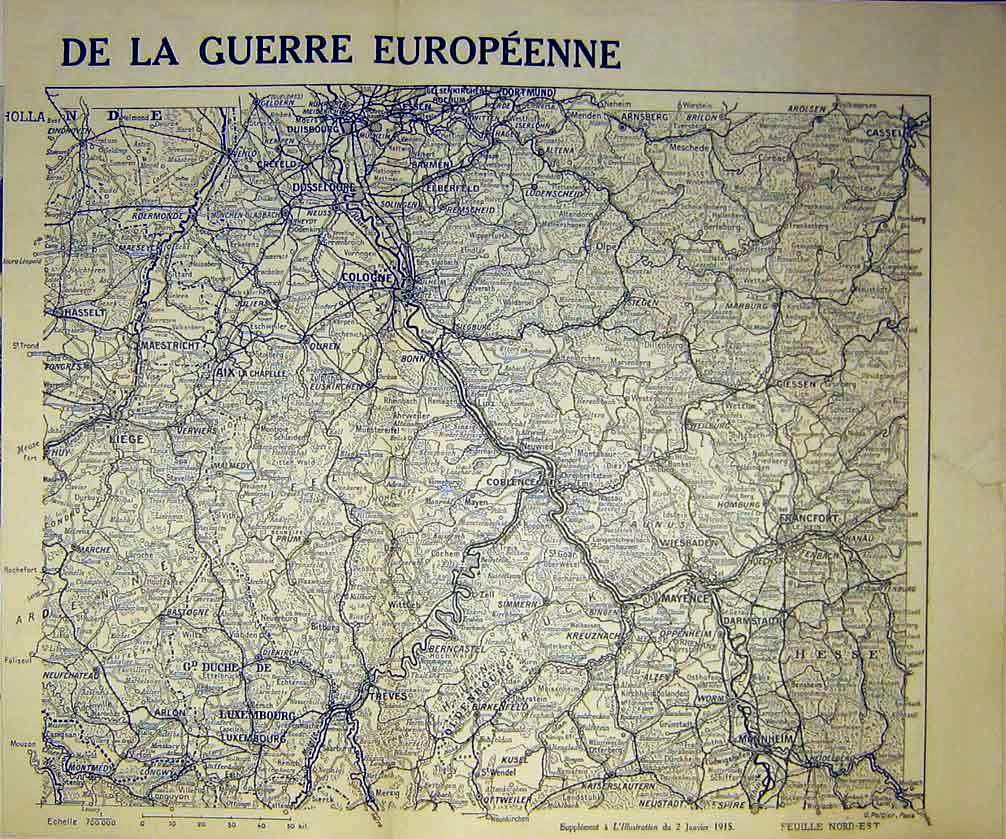 Print Map War European Germany France French 1915 71Tlil0 Old Original