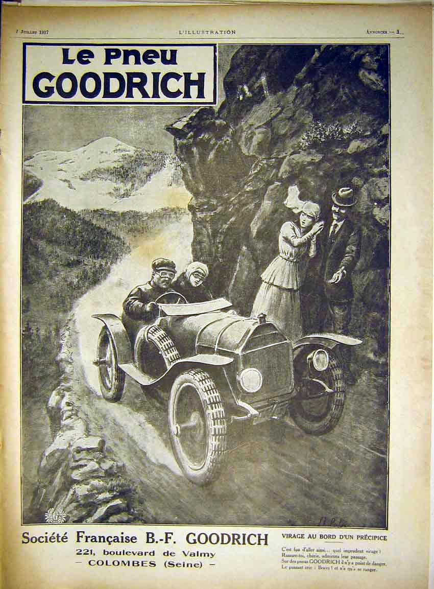 Print Advert Goodrich Automobile Car Tyres French 1917 03Lil0 Old Original