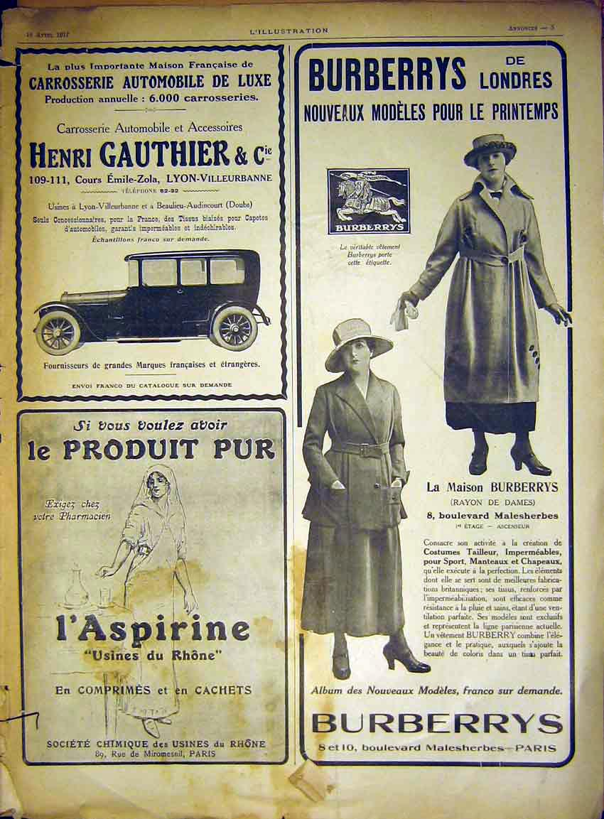 Print Advert Burberry'S Clothing Gauthier Automobile 1917 05Lil0 Old Original